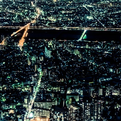 「都会の灯り」の写真素材