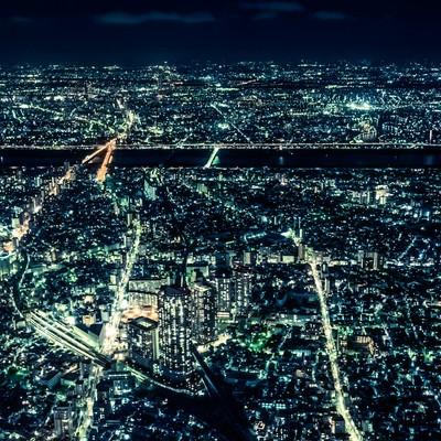「大都会、東京の夜景」の写真素材