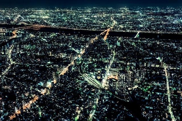 都会と夜景の写真