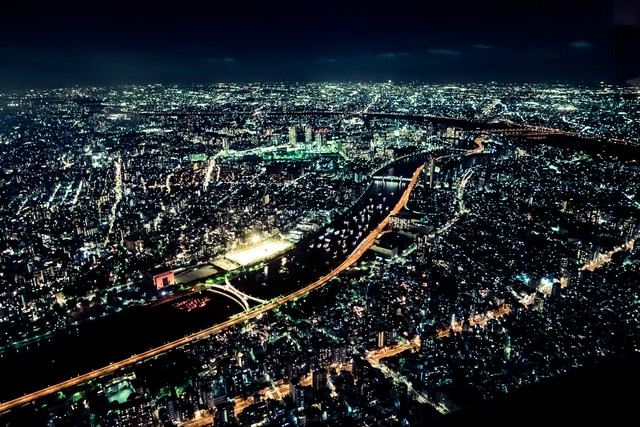 東京の眠らない夜景の写真