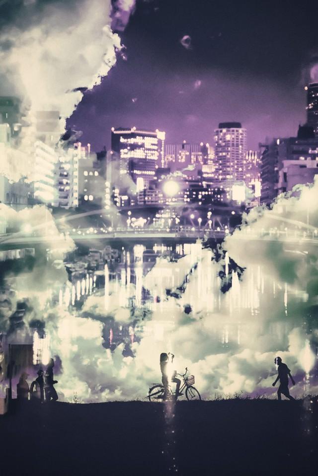河川敷の昼と夜(フォトモンタージュ)の写真