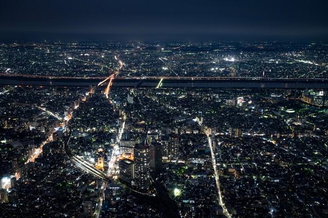 都会の夜景の写真