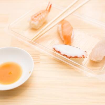「食べ残された寿司」の写真素材