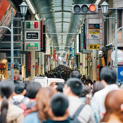 「大阪道頓堀の人混み」の写真素材