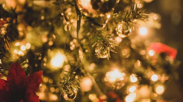クリスマスツリーと装飾の写真