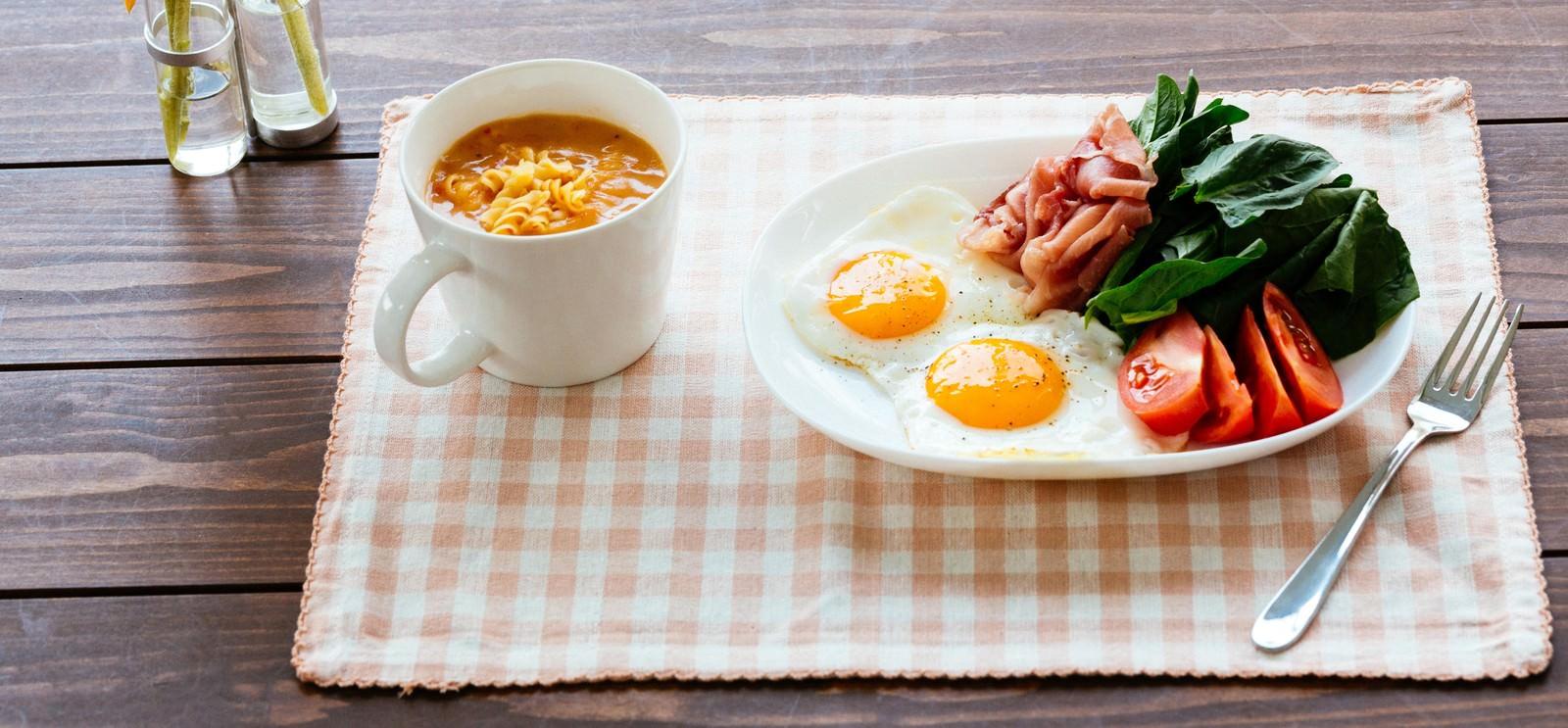 「朝食目玉焼きセット朝食目玉焼きセット」のフリー写真素材を拡大
