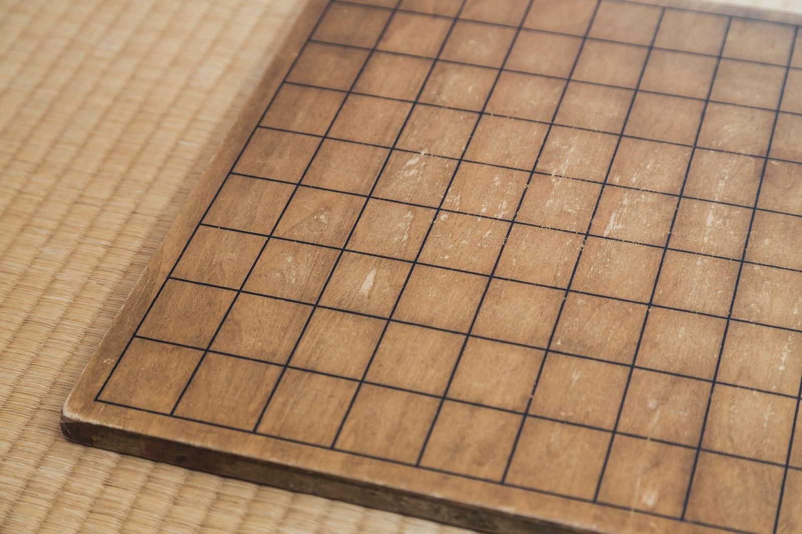 「古い将棋盤」の写真