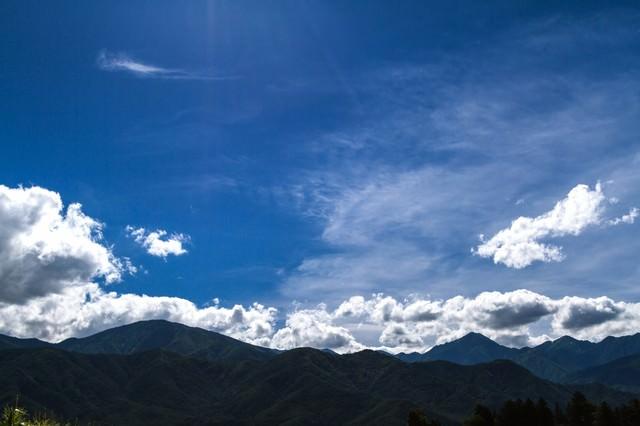 青空と山々の写真