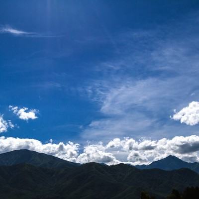 「青空と山々」の写真素材