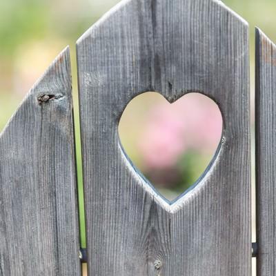 「ハート型に抜かれた木の板」の写真素材