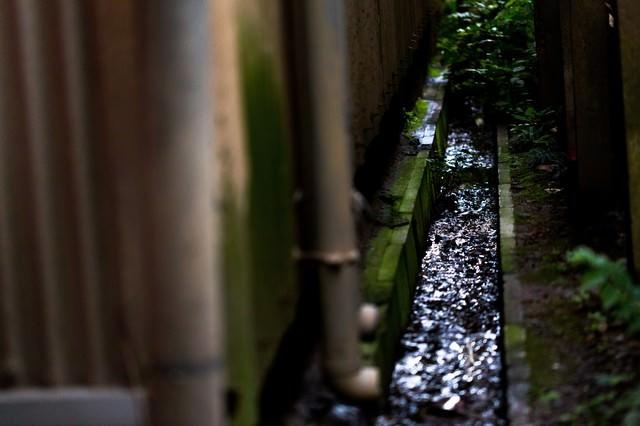 工場横の排水溝の写真