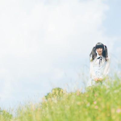 「野原とツインテールの女の子」の写真素材