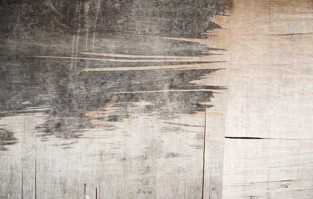 剥がれたベニアの壁(テクスチャー)の写真