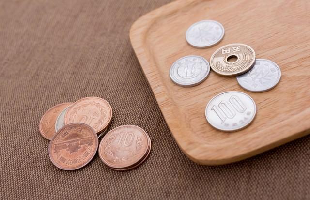 トレイの小銭(108円)の写真