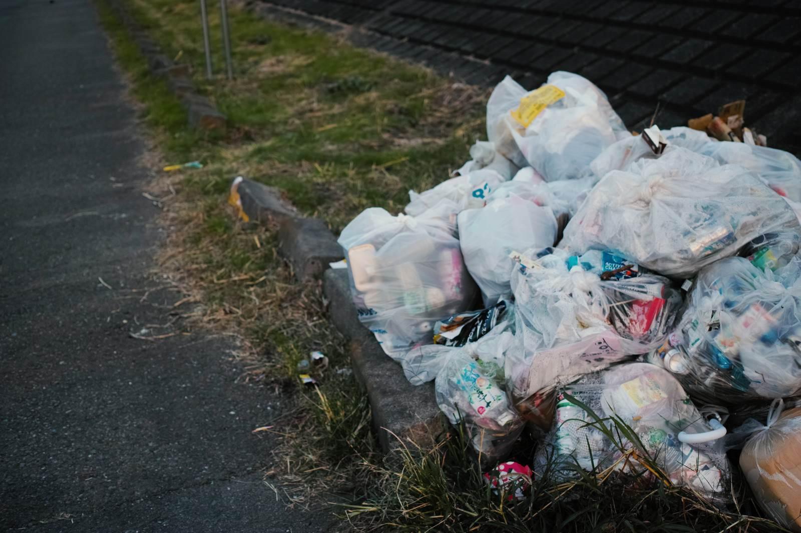 「河川敷に不法投棄されたゴミ」の写真