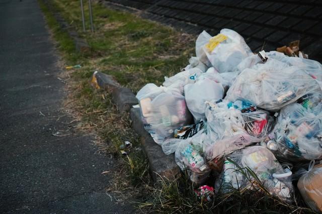 河川敷に不法投棄されたゴミの写真