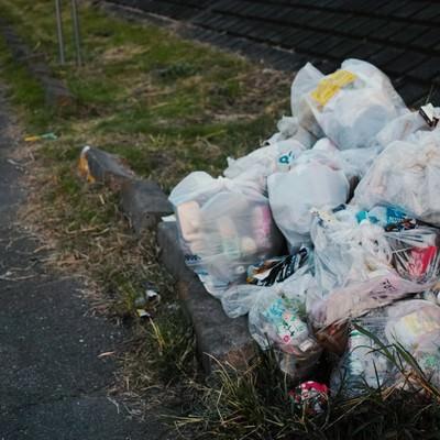 「河川敷に不法投棄されたゴミ」の写真素材
