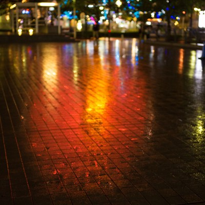 雨の横浜、観覧車の写真