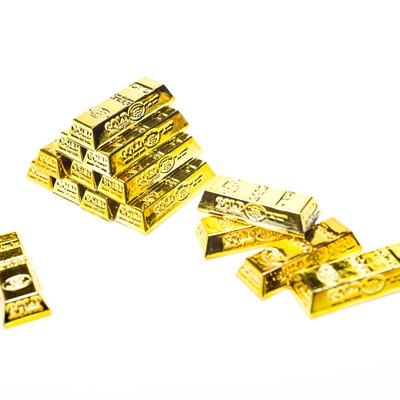 「積み重なる金塊」の写真素材