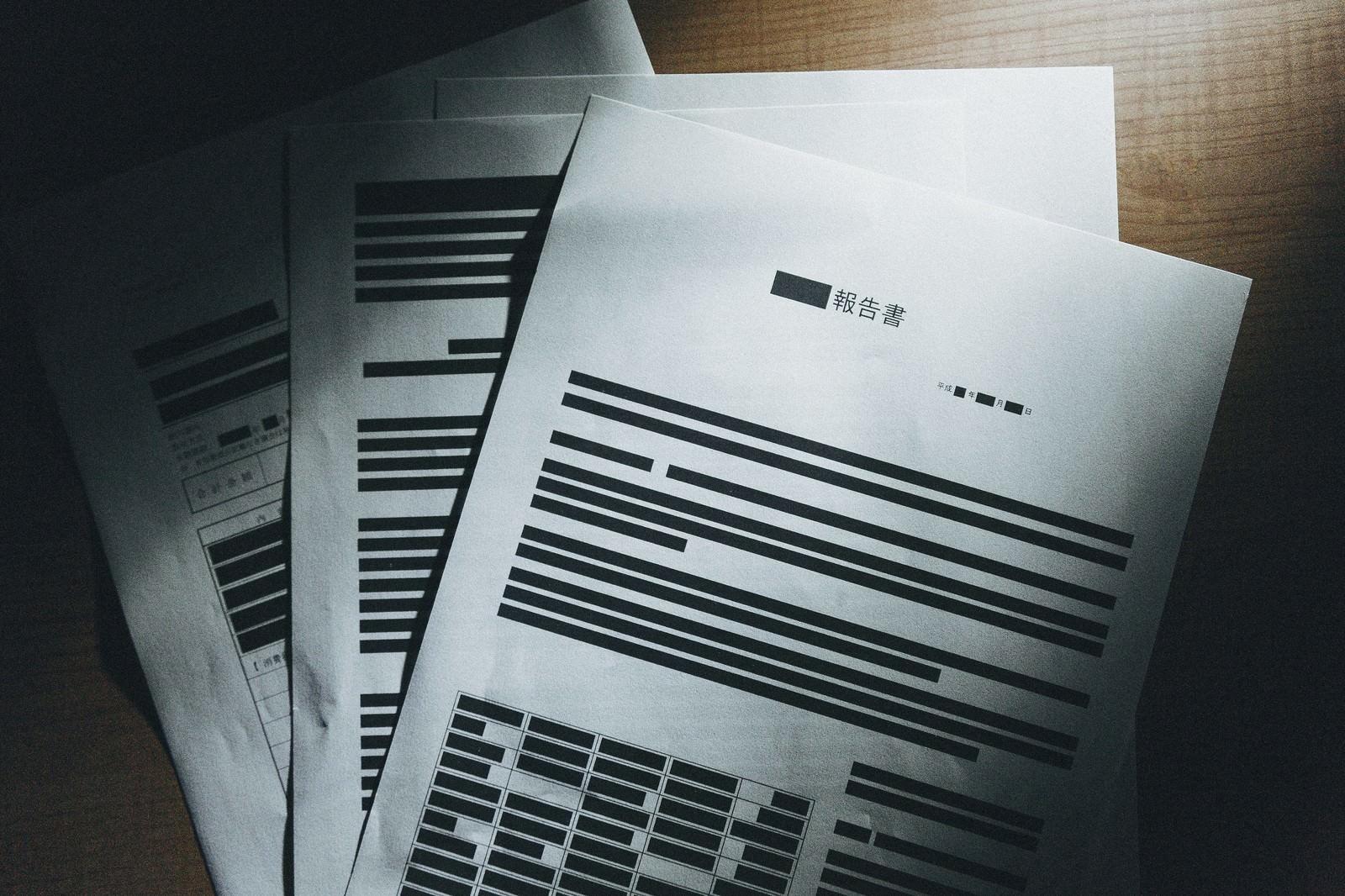 「黒塗りされ実際は掲載されるはずだった報告書」の写真