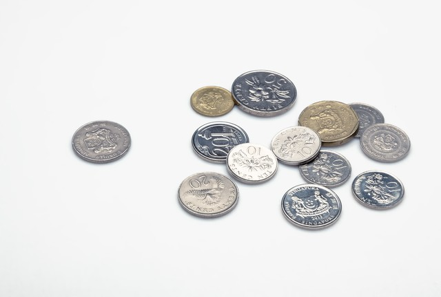 散らばったシンガポールのコインの写真