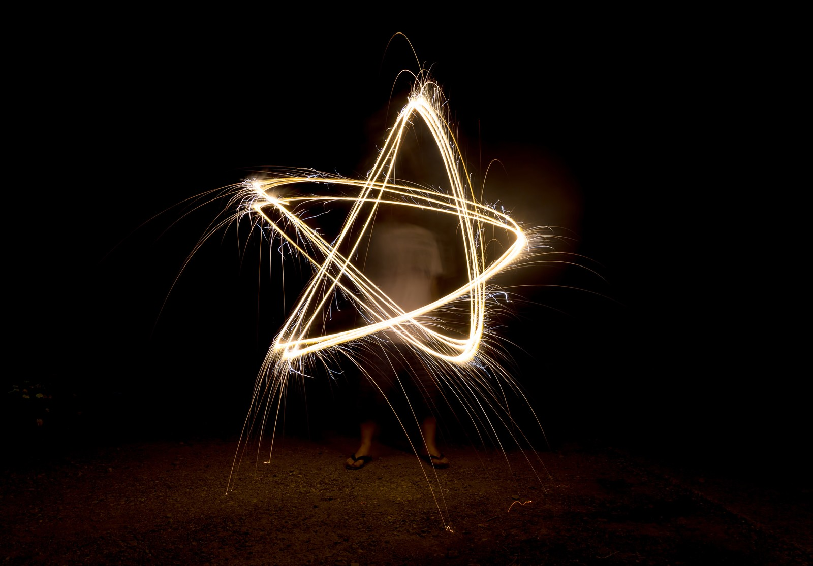 「手持ち花火で五芒星」の写真