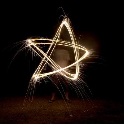 「手持ち花火で五芒星」の写真素材