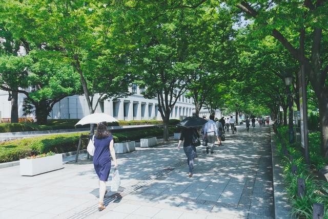 緑の多い通りと出勤する人たち