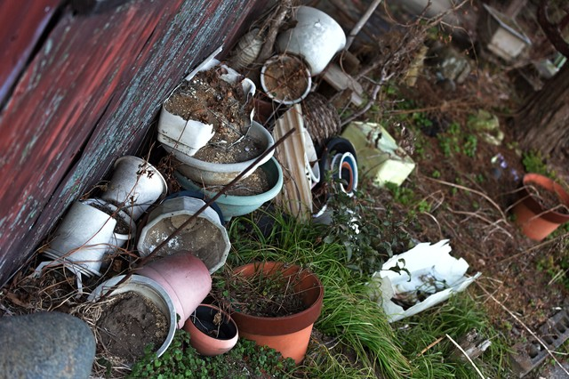 割れた庭先の花瓶の写真