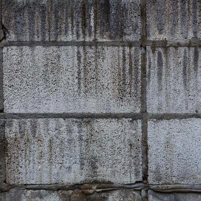 「汚れたブロック塀(テクスチャー)」の写真素材