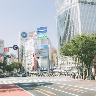 渋谷駅前のスクランブル交差点の写真