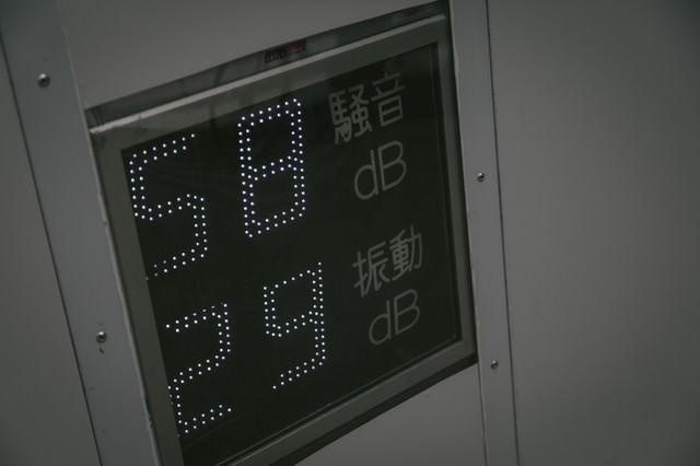 工事中の騒音を表示するパネルの写真
