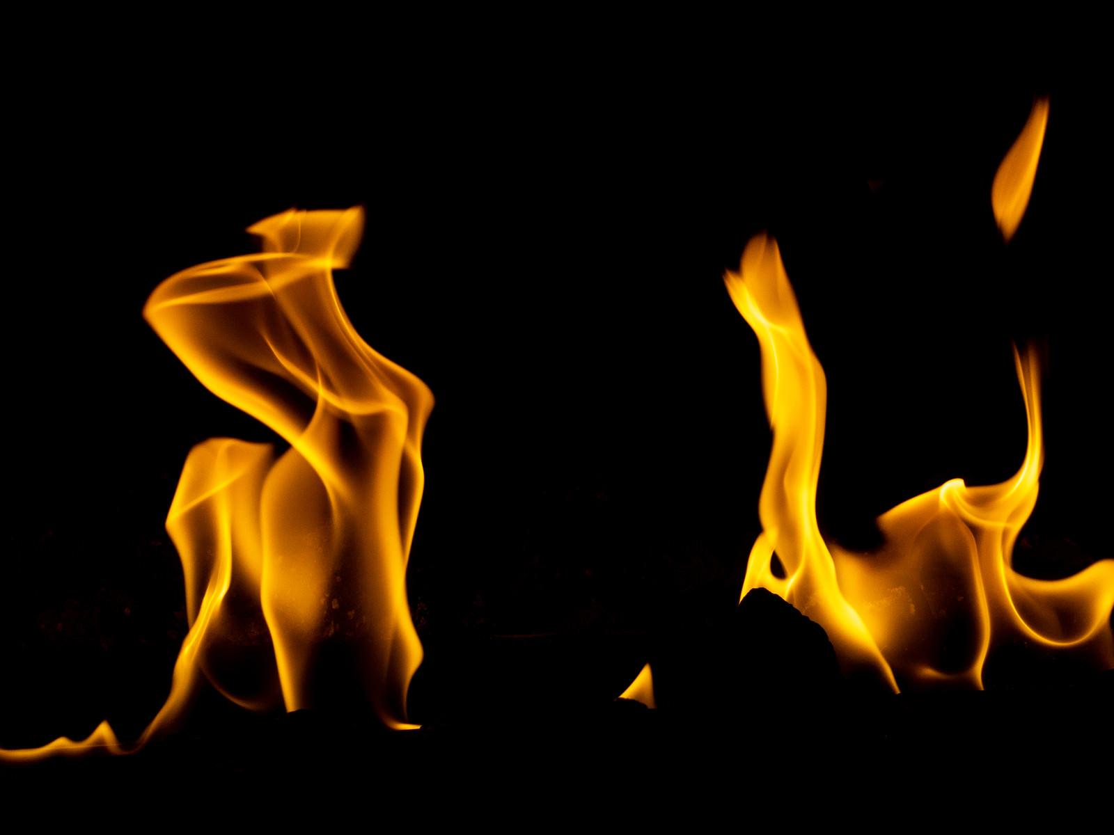 「よく燃える暖炉の火」の写真