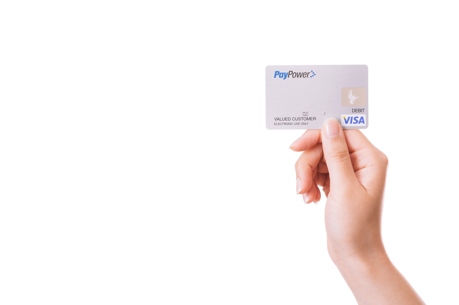 「クレジットカードを持った手」の写真