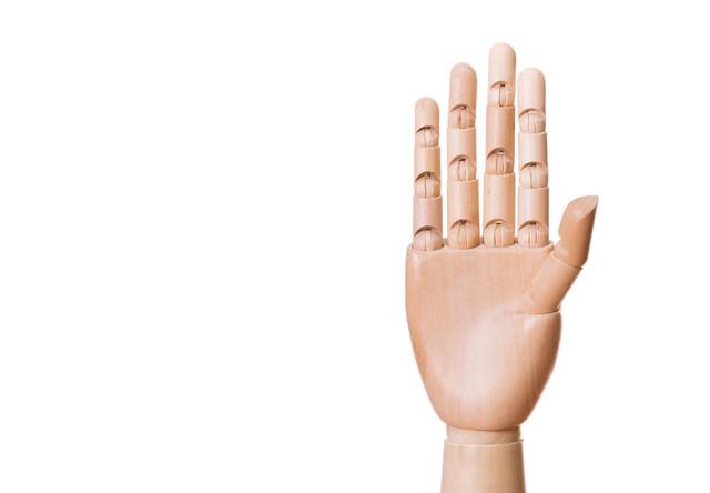 手を広げたデッサン模型の写真