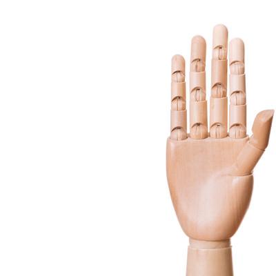「手を広げたデッサン模型」の写真素材