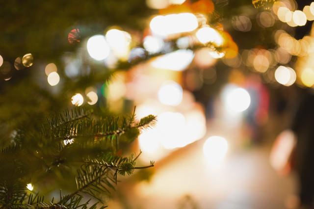 クリスマスツリーと光るライトの写真