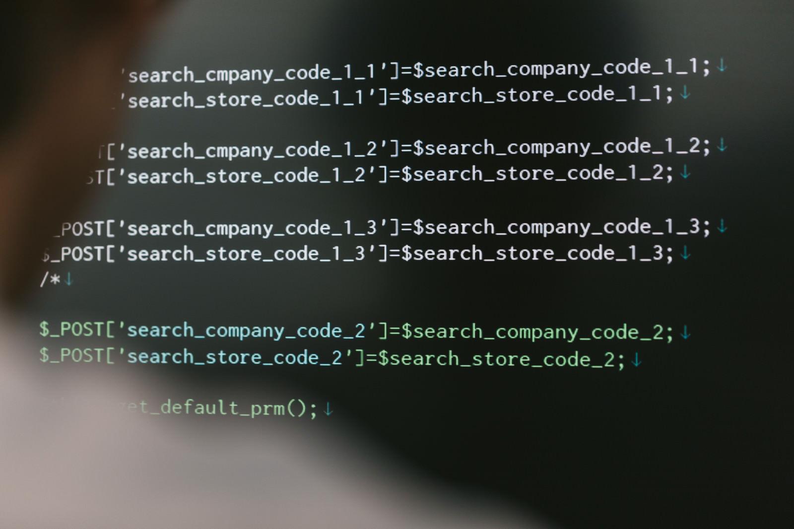 「PHPを入力中のエンジニア」の写真[モデル:大川竜弥]