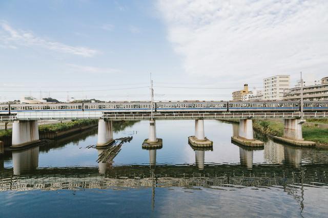 鶴見川と東横線(大綱橋)の写真