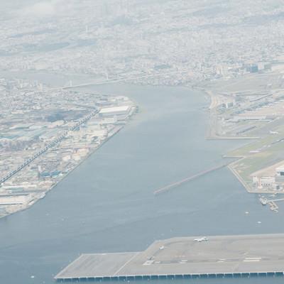 「羽田空港から離陸後の東京の様子」の写真素材