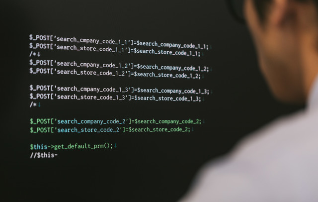 「残業中PHPコードを書くシステムエンジニア」のフリー写真素材