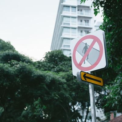 「この道路は横断禁止です(標識)」の写真素材