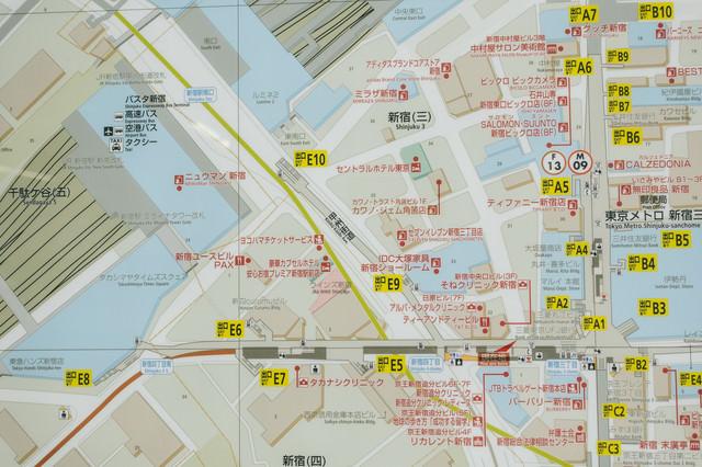 新宿三丁目駅周辺のMAPの写真