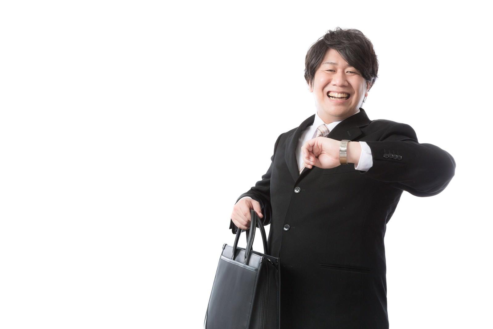 「「タイム・イズ・マネー!」と豪語する投資顧問」の写真[モデル:朽木誠一郎]