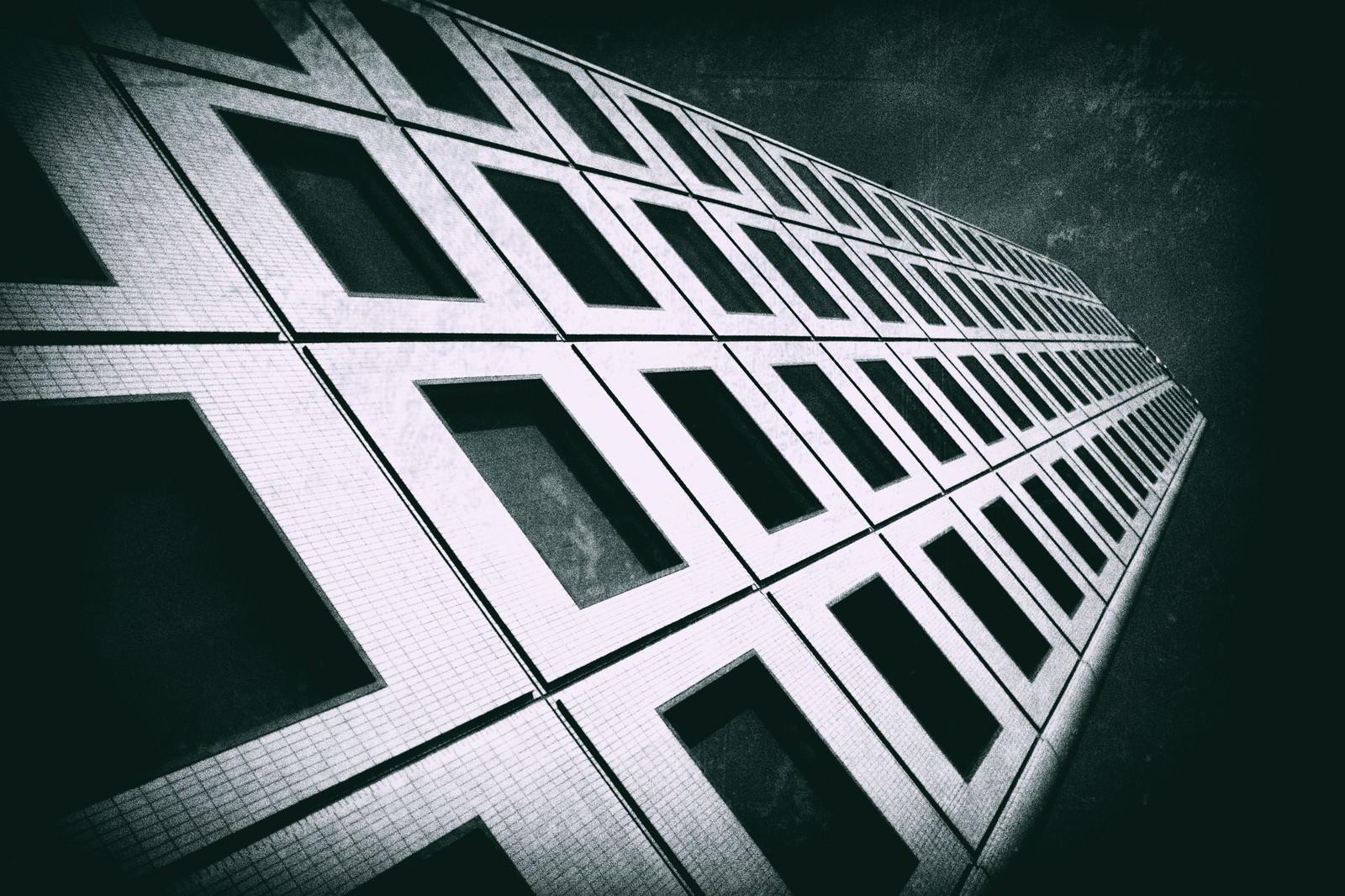 「ビルを見上げる(モノクロ)」の写真