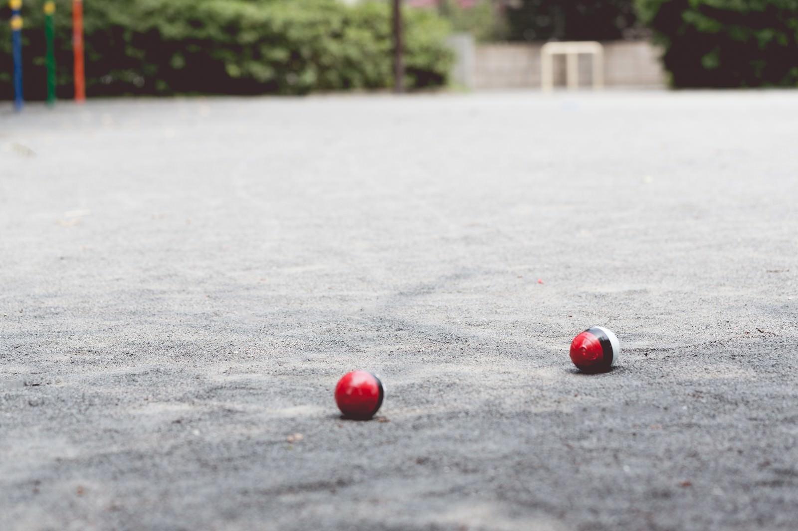 「近くの公園にポケットサイズの紅白ボールが!」の写真