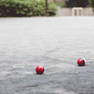 「近くの公園にポケットサイズの紅白ボールが!」の写真素材