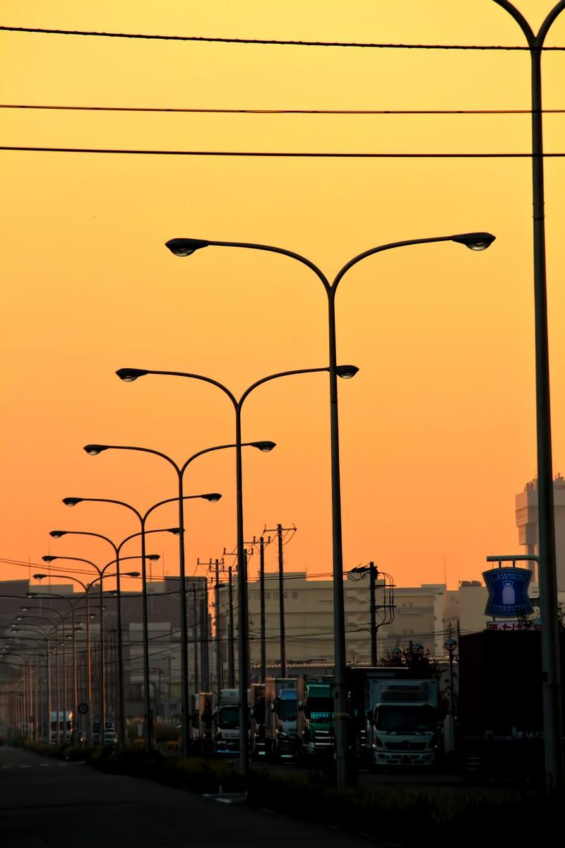 「産業道路と連なる街灯(夕焼け)産業道路と連なる街灯(夕焼け)」のフリー写真素材を拡大