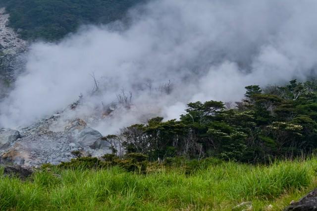 湯気が立ち上る大涌谷の写真