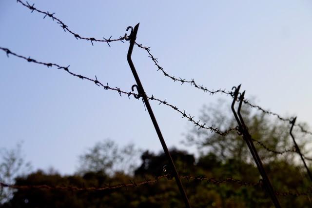 侵入禁止の有刺鉄線の写真